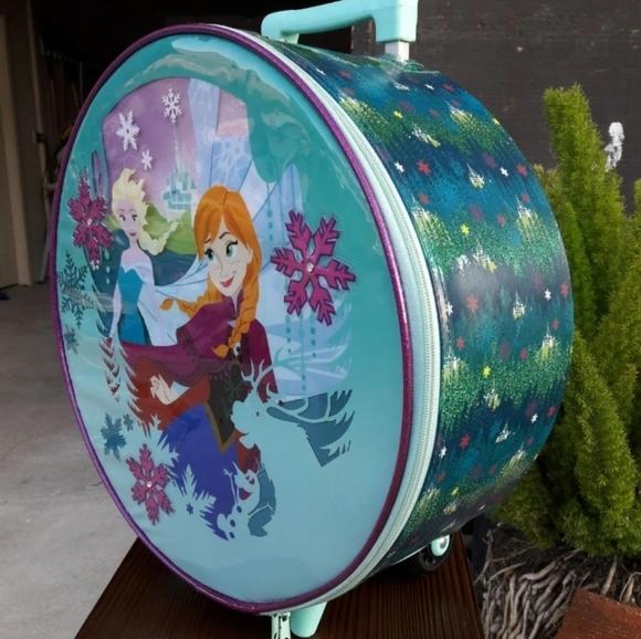 Disney Store Frozen Anna Elsa Rolling Luggage